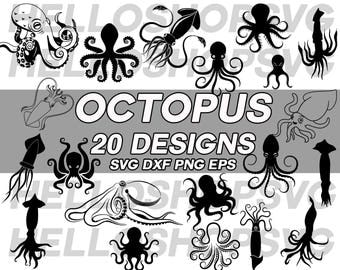 octopus svg, squid svg, marine life svg, clipart, decal, stencil, silhouette, eps, dxf, png, cut file, iron on