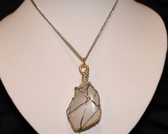 White Moonstone Wire Wrapped Necklace