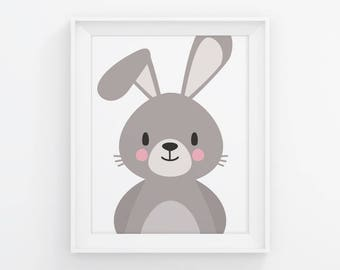 PRINTABLE Bunny Nursery Wall Art. Neutral Baby Room Woodland Decor. Cute Kids Poster. Digital Print Instant Download 8x10-11x14-16x20-A4-A3
