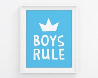 PRINTABLE Boys Rule Poster. Blue Room Wall Art - Kids Bedroom Decor. Children Room Signs, Digital Prints, Printable Quotes. Baby Boy Nursery