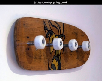 Upcycled hand painted skateboard coat hook