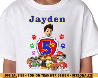Paw Patrol Iron On Transfer , Paw Patrol DIY Transfer , DIY Paw Patrol Boy Birthday Shirt , Personalize , Any Name , Any Age , Digital Files