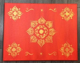 Gold on Red Mandala
