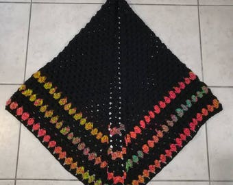 Wool black and multicolor shawl