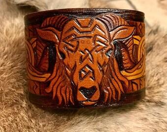 Leather Viking Cuff Bracelet of the Ram