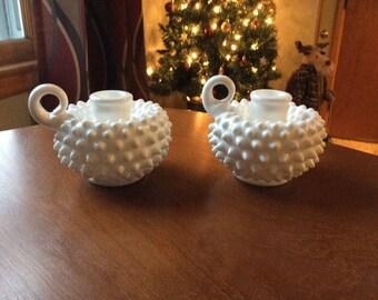 Fenton milk glass hobnail candleholders. Pair. Handled.