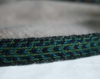 Handmade Green-Blue Tablet Woven Viking Trim/Band (100% Pure Wool) 1-4 m Length, Without Tassels