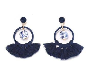 Handmade Ceramic Ginger jar Chinese Bead white  and Dark Blue Tassels Earrings