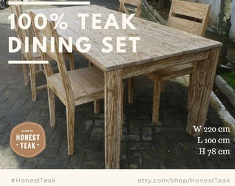 Wintry Aged Teak Dining Table