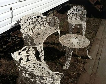 4 Piece Set Vintage 1930s Wrought Cast  Iron Patio Furniture Leaf Grapevines Lace Outdoor Garden Yard Dining Room