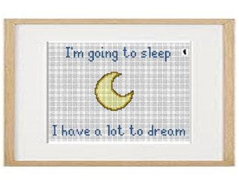 I am going to sleep cross stitch pattern (download PDF)