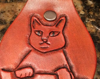 Custom hand tooled leather keychain, Key fob, Kitty, Cat