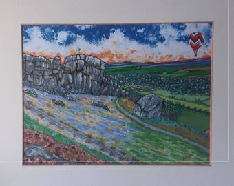 Handmade Limited Edition mixed-media print of The Cow and Calf Rocks, Ikley, Yorkshire in natural wood effect frame
