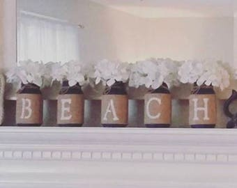 Painted mason jar set, beach mason jars, burlap mason jars, country mason jars