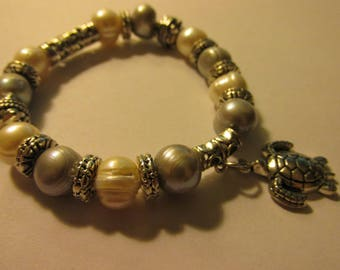 Grayish-Blue and White Pearl Bracelet with Silver Tone Turtle Charm