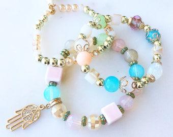 Three Bracelet Set with Hamsa Symbol