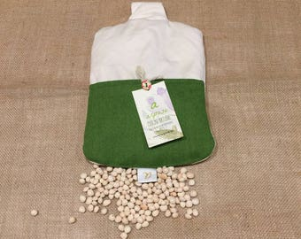 Boulle Pillow with cherry kernels natural color with green felt pocket