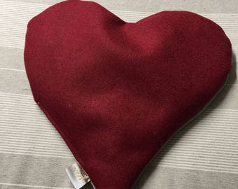 Heart pillow with cherry kernels double face linen and felt