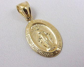 Solid 10K Yellow Gold Miraculous Medal Virgin Mary Pendant, 1.5 grams, Catholic