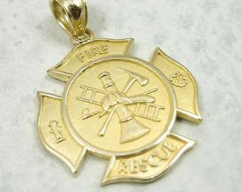 NEW Solid 10K Yellow Gold Firefighter Fire Rescue Pendant Charm, 2.3 grams