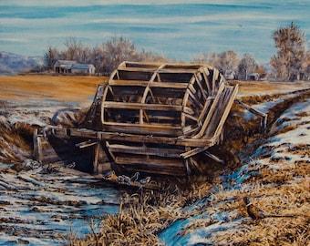New Plymouth Waterwheel Winter