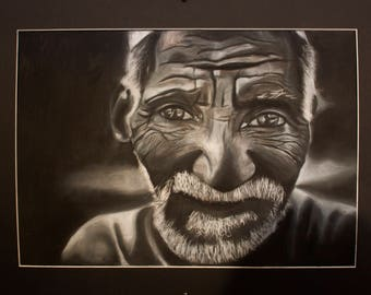 Old Man Charcoal Piece
