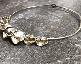 Vintage sterling silver choker with sterling silver flower charms