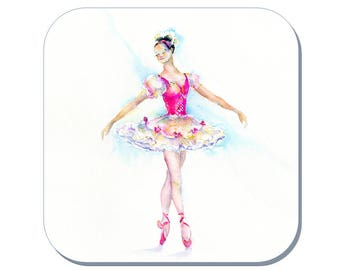 En Pointe - Ballet Coaster, Dancing Coaster, Ballerina Coaster (Corked Back). From an original Sheila Gill Watercolour Painting