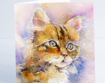 Pretty Kitty - Cat Greeting Card - Taken from an original Sheila Gill Watercolour Painting.