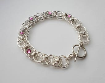 Helm Chain Bracelet with Pink Swarovski Crystals