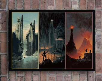 The Lord Of The Rings Trilogy Art Movie Poster The fellowship of the ring , The two towers , The return of the king Home decor picture