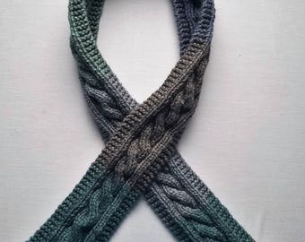Multi-Colored, Cable-Knit Scarf (Oolong)