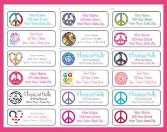 Personalized PEACE SIGN Return ADDRESS Labels, Sets of 30, Your Choice of Design