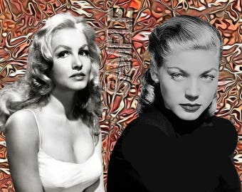 Julie Newmar, Lauren Bacall,Actress,Celebrity,Entertainer,Movie Star,Film Star,1940's-50's,Old Hollywood,Classic Hollywood,Vintage Picture