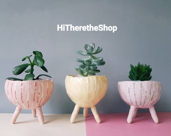 The Lines Collection - handmade home studio pottery, legged standing plant pot, succulent pot, pinch pot, ceramic pot, home decor.