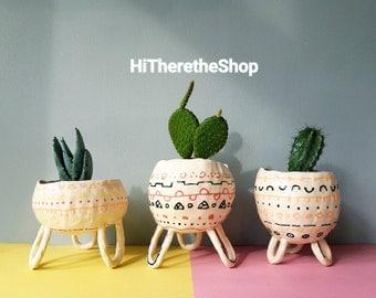 The Boho Bongo Collection - Handmade ceramic succulent pot, cactus pot, plant pot, pinch pot, home studio pottery, home or work decor.