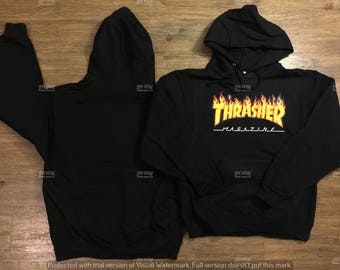 Thrasher Black Hoodie Men's/Women Sweater Hip-Hop Skateboard Unisex Black Hoodie,Pullover