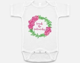 Cute Feminist Print - Baby Onesie - 3-6 months - 6-12 months - 12-18 months - Smash The Patriarchy