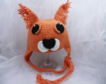 READY TO SHIP, Crochet animal hat, Crochet Fox Hat, Fox Hat, Baby Fox Hat, animal hat, crochet hat, Size Newborn