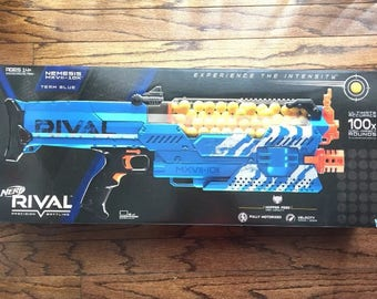 Fully Modified Blue Nerf Nemesis rewired for Lipo battery 600 rounds per minute!