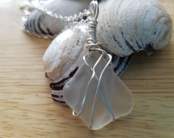 Wire Wrapped  White Beach Glass Necklace