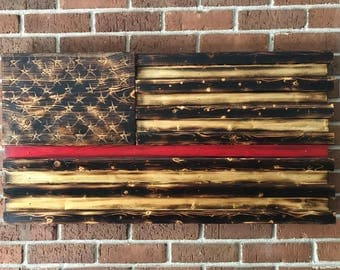Wall Art, Wall Decor, Wood Signs, Wood Wall Art, Wooden Signs, Rustic Wall Decor, Thin Red Line, Firefighters, American Flag