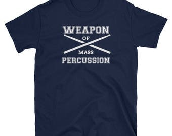 Men's Weapons Of Mass Percussion. Drum Sticks T-Shirt