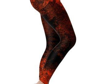 Grunge Print Leggings Workout Leggings Orange Black Yoga Pants Yoga Leggings Womens Leggings Printed Leggings Workout Pants Workout Clothes