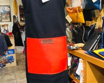LEATHER COTTON APRON