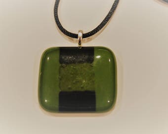Green and black glass fused necklace