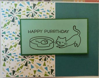 Happy PURRthday cat and mouse birthday card