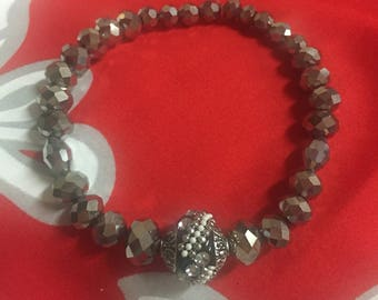 Black and Silver Faux Crystal Bracelet