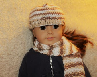 Striped Hat & Scarf Set for 18-Inch Doll