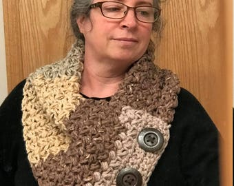 Soft Chunky Button Scarf